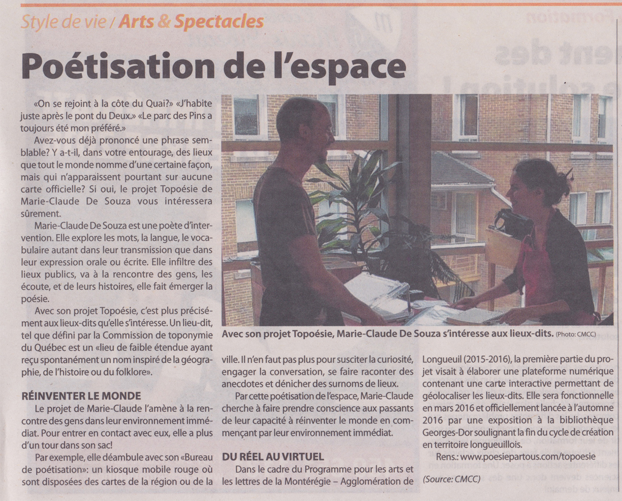 Article paru dans Le Courrier du Sud